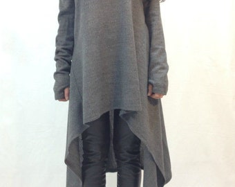 Grey Asymmetrical Sweater/Cozy Sweater/ Sweater Dress/Knit Dress/Women Ribbed Sweater/Maxi Blouse/Over sized knit top/ Winter blouse/F1234