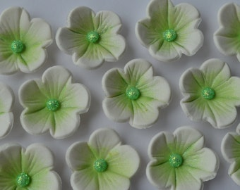 12 edible white and green blossom flowers. Edible sugar flower decorations. Flower cake toppers. Edible cupcake flowers.