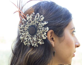 Leopard Print Flower and Feather Tribal Belly Dance Headpiece