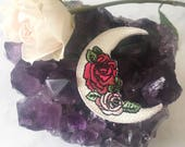 Crescent Moon & Rose Patch - Iron On Embroidered Patches - Gypsy - Boho