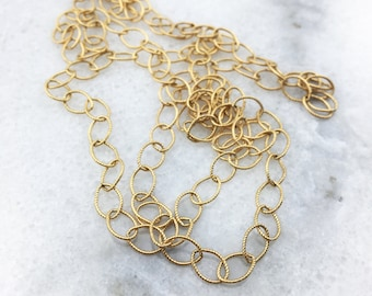 14k Gold Filled Diamond Cut Textured Chain with Oval Links - Minimal Layering Necklace