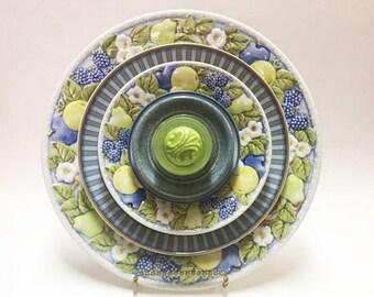 Blue Yellow Green Glass Garden Flower - Garden Art - Plate Flowers - Art Flowers - Glass Flowers - Dish Flowers - Lawn Decorations