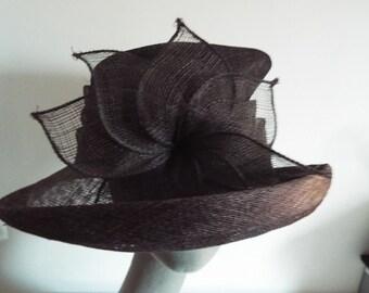 Vintage Ladies Hat Brown Sisal Asymmetric Top Upturned Brim tapering back with flower on one side