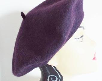 Vintage Hat 1950's Plum Wool Beret ..fantastic