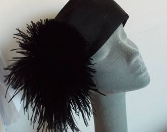 Vintage Hat 1950's Black Satin Pill Box with large black Feather Trim by Frederick Fox for HARRODS London