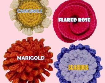 crochet flower pattern flower applique PDF crochet flower easy crochet pattern