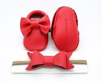 Baby Moccasins, Baby Red Bow Moccasins, Baby Leather Shoes, Genuine Leather Moccs, Toddler Moccasins, Baby Moccs, Baby Shower Gift