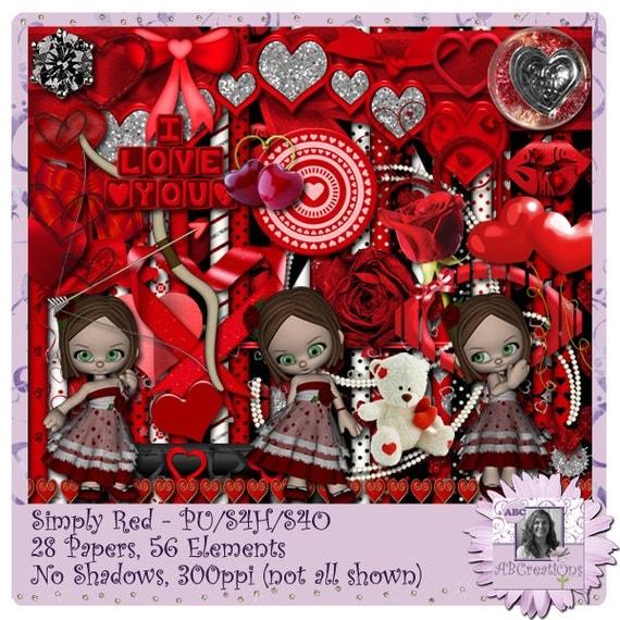 Simply Red, Valentine, Anniversary, Digital Scrapbooking kit, digiscrap, scrapbook, paper crafting, card making, page kit, crafts, wedding