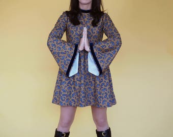 Mustard Paisley 60's Medieval Sleeved dress