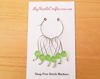 Stitch Markers, Snag Free Beaded Knitting Stitch Markers - Set of 6 Round Matte Green Glass Beads