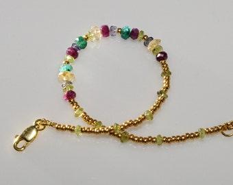 Emerald Ruby Sapphire Citrine Aquamarine Peridot Bracelet, Womens Gemstone Astrology Jewelry, Mother's Day Wedding Anniversary Birthday Gift