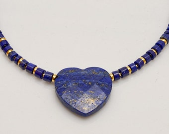 Royal Blue Lapis Lazuli Necklace with Gemstone Heart Pendant Fine Jewelry Mother's Day Anniversary Birthday Gift for Wife Girlfriend