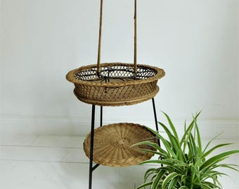 Mid century bar in metal and wicker or plants rack