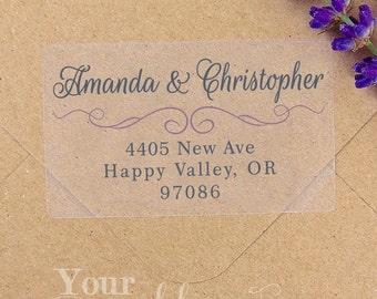 Custom Calligraphy Clear or White Label, Wedding Labels, Return Address Sticker, Wedding Sticker, Wedding Favor, Return Address Label, Stamp