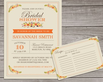 Fall Bridal Shower Invitations and Recipe Cards - Fall Floral Bridal Shower - Orange Bridal Shower Invitation -  Bridal-137