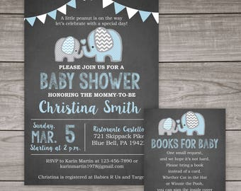 Elephant Baby Shower Invitation Boy - Chalkboard Baby Shower Invitations - Boy - Blue - Elephants - Baby-102