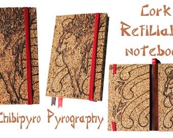 Cork refillable notebook Okami