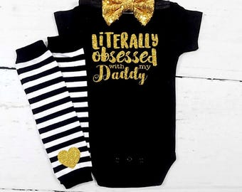 daddys girl daddys girl outfit daddys girl shirt daddys girl outfit baby girl clothes black gold outfit baby shower gift girl daddy daughter