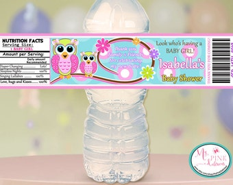 Personalized Owl Girl Baby shower Water bottle label   / Baby shower Favor