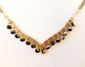 Dainty Chevron Beaded Necklace, Gifts For Her, Gifts Under 30, Brass Minimalist Jewelry, OOAK, Girly, Hippie Yoga Jewelry, Black and Gold