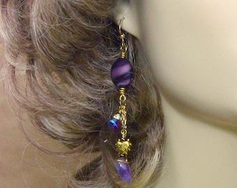 Purple Earrings, Beaded Earrings, Glass Bead Earrings, Gold Earrings, Dangle Earrings