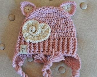 Crochet Kitty hats, Luv Beanies, Cat hats, Kitty Hats, Girl Hats, Photo Props, Crochet Cat Hats, Pink Pussy Cat Hat, Valentines