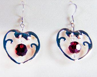 SILVER HEART EARRING,  heart earrings, heart jewelry, Swarovski crystal, deep red crystal, Swarovski Siam crystal - 1856