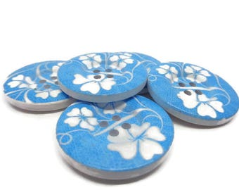 Large floral buttons, blue floral buttons, wood flower buttons, 30mm buttons, 5 flower buttons, sewing buttons, statement buttons,