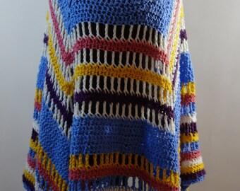 "1980s handmade crocheted poncho with ""I love you"" beads acrylic OSFM soft cozy OOAK boho hippie festival colorful stripes vintage rainbow"
