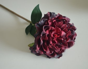 Dark Burgundy Peonies Real Touch PU Flowers For Silk Wedding Bridal Bouquets, Wedding Table Centerpieces