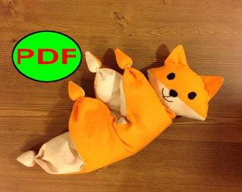 baby doll pattern fox pattern newborn toy pattern nursery toy fox toy plush crib toy waldorf doll Baby Toy comforter Baby fox toy pattern