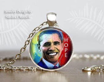 Obama Hope Necklace, Barack Obama Necklace, Obama Jewelry, 44TH President of the United States, Obama Gift, Obama Farewell Speech,