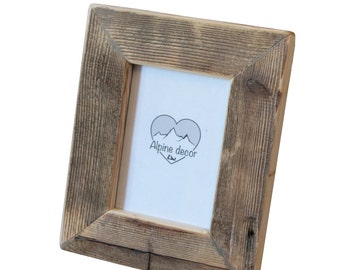 Picture frame 5 x 7 inches to hang, very rustic, made of aged fir, left natural