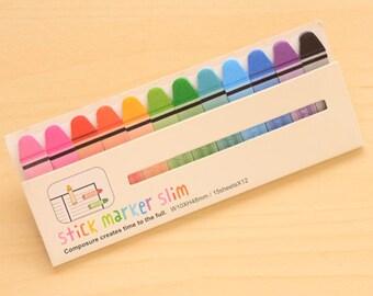 Slim Sticky Note Set - Crayon (15 Sheets x 12 pcs) Korean Stationery Cartoon Sticky Notes Post It Note N0079