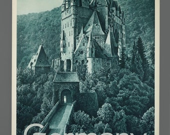 1960s German Eltz Castle Travel Poster 19.5 x 29 Vintage Poster Original