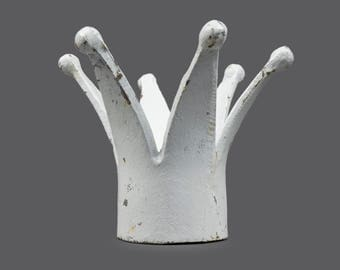Mid Century Cast Iron Crown White Color Metal Crown