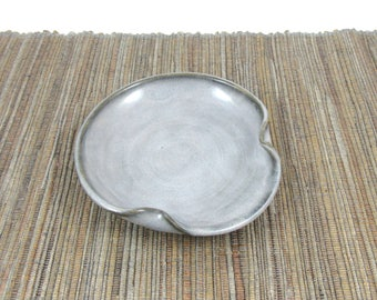 Spoon Rest, Hand Made Ceramic Spoon Rest, Teabag Holder in Grey, Kitchen Pottery, Rustic Ceramic Dish, Stovetop Pottery, Ready to Ship