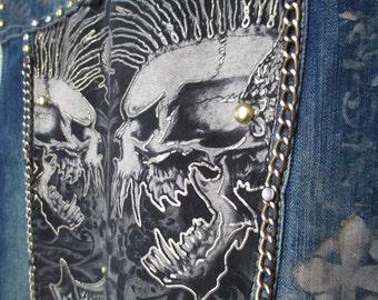 Heavy Metal Denim Vest with shoulder spikes, studs, chains, hand painted symbols. Men's size large