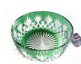 French Green Massenet Fruit Bowl from St Louis, Dessert Bowl