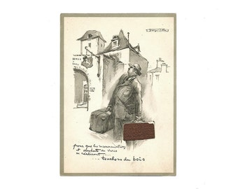 Georges Villa Drawing, French Postcard with Wood, Pencil Drawing, lllustrated Traveler Saleman, Lucky Charm Card