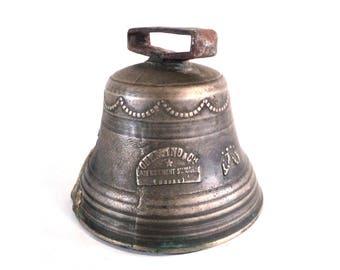 Large Brass Bell, French Bronze Souvenir, Obertino & Cie Labergement Sainte Marie, XL Cowbell