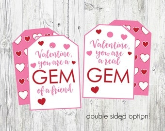 Gem Valentine's Tags. Great for Ring Candy. Printable Valentine's Day Cards. You Are A Gem, Gem Of A Friend. Instant Digital Download