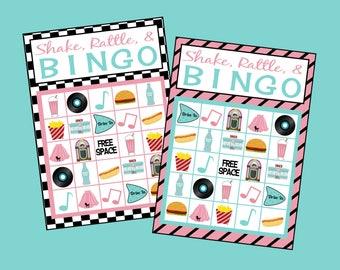 Soda Shop Bingo Game. Printable 50's Bingo Game Set. Incl 12 game cards, calling cards & call sheet. Fifties, Retro Instant Digital Download