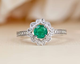 Art Deco Engagement Ring, Natural Emerald, May Birthstone, Emerald Jewelry, Dainty, Anniversary, Mothers Day, Push Present