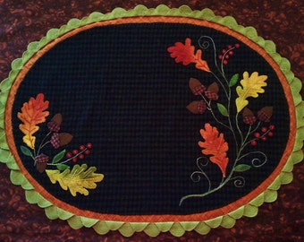 Oak & Berries Wool Applique Table Mat Pattern - White Oak Ridge Designs