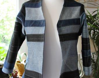 jacket, denim jacket, recycled jacket, upcycled jacket, upcycled denim, M - L size jacket, recycled clothing, boho jacket, recycled