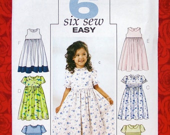 Butterick Easy Sewing Pattern 3762 Dress Dirndl Skirt, Ruffle Tuck, Toddler Sizes 2 3 4 5, Wedding Flower Girl, Special Occasion Gift UNCUT