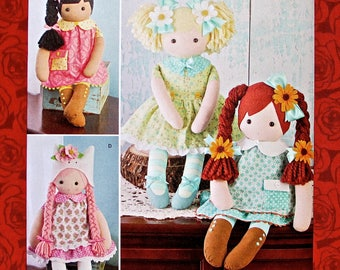 """Simplicity Sewing Pattern 8402, 23"""" Stuffed Dolls & Clothes, Soft Figures, Classic Toy Collectible, Baby Shower, Child Birthday Gifts, UNCUT"""