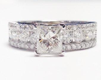 2.50CT Princess Cut Diamond Solitare Engagement Ring 3 Row Diamonds Anniversary Wedding Bands Rings Platinum 18K 14K White Yellow Rose Gold