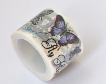One Roll Of Butterfly Washi Tape /Japanese Masking Tape/ Deco Tape 30mm wide x 5m long (1.2 inches X5.5 yards) No. 12237
